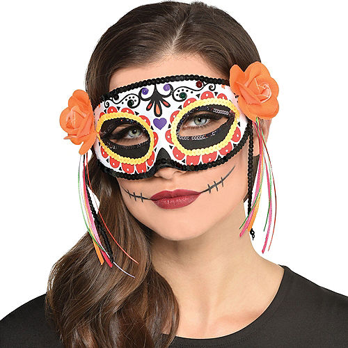 Day of the Dead Calavera Fabric Eye Mask Image #2