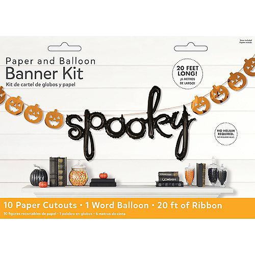 Air-Filled Pumpkin Spooky Halloween Balloon Banner, 20ft Image #2