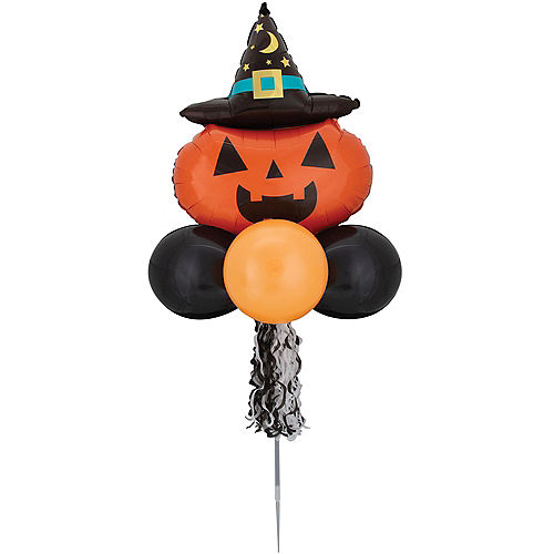 Air-filled Witchy Pumpkin Foil & Latex Balloon Yard Sign, 64in Image #2