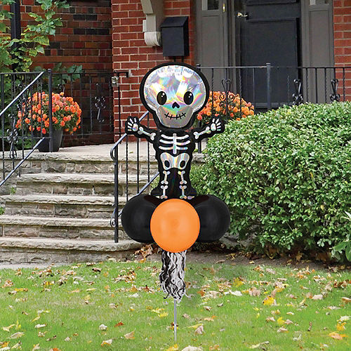 Air-filled Iridescent Skeleton Foil & Latex Balloon Yard Sign, 64in Image #1