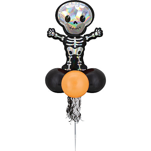 Air-filled Iridescent Skeleton Foil & Latex Balloon Yard Sign, 64in Image #2