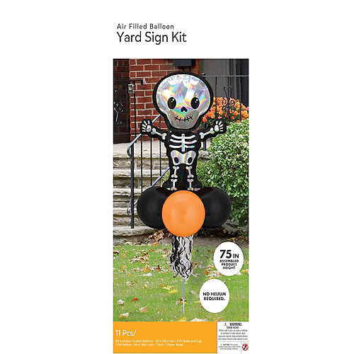 Air-filled Iridescent Skeleton Foil & Latex Balloon Yard Sign, 64in Image #4