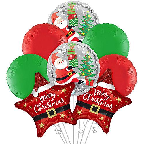 Santa Star Christmas Foil Balloon Bouquet, 8pc Image #1