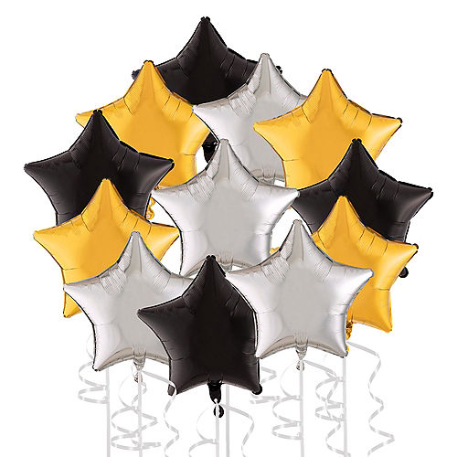 Black, Silver & Gold New Year's Star Foil Balloon Bouquet, 19in, 12pc Image #1