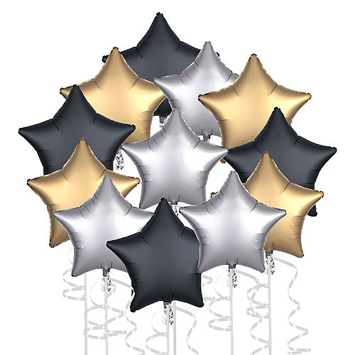 Satin Black, Silver & Gold New Year's Star Foil Balloon Bouquet, 19in, 12pc Image #1