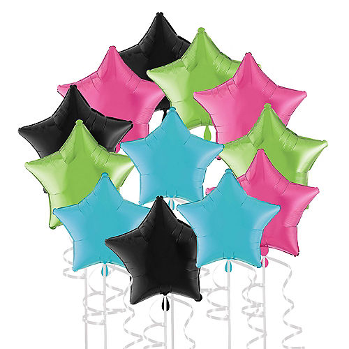 Neon Bright New Year's Colorful Star Foil Balloon Bouquet, 19in, 12pc Image #1