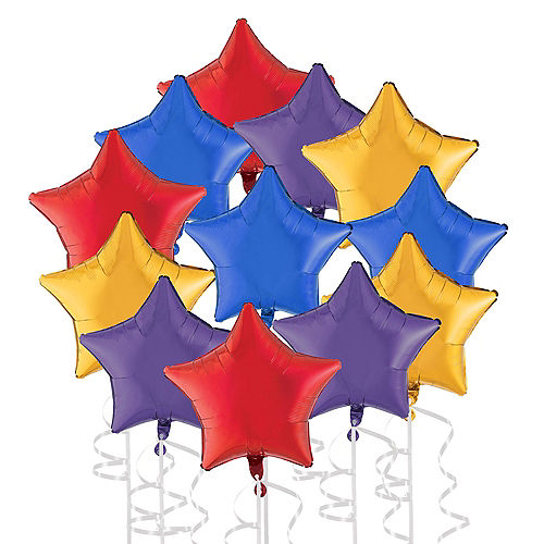 Shine Bright New Year's Colorful Star Foil Balloon Bouquet, 19in, 12pc Image #1