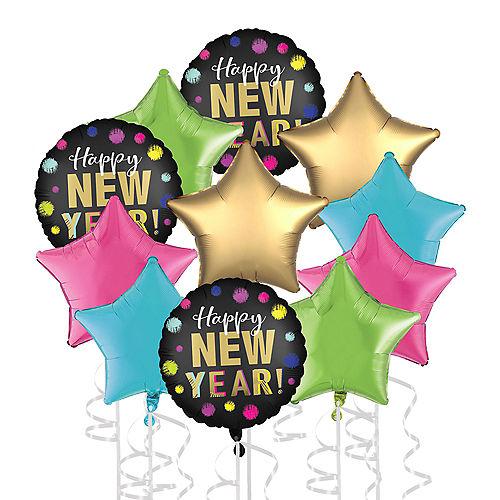 Neon Spots Happy New Year Foil Balloon Bouquet, 11pc Image #1
