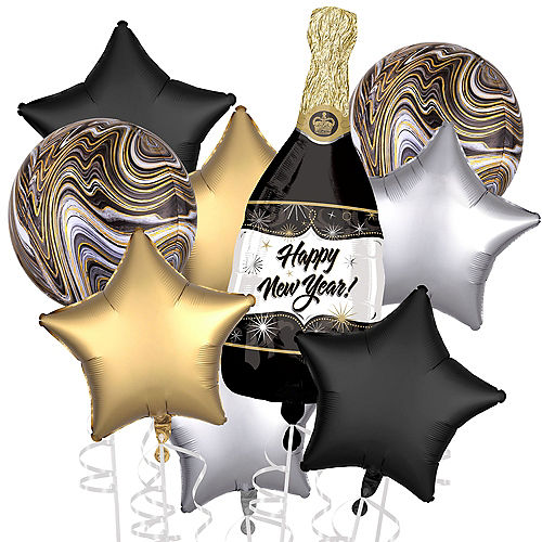 Champagne & Black Marble New Year's Eve Balloon Bouquet, 9pc Image #1