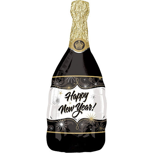Champagne & Black Marble New Year's Eve Balloon Bouquet, 9pc Image #2