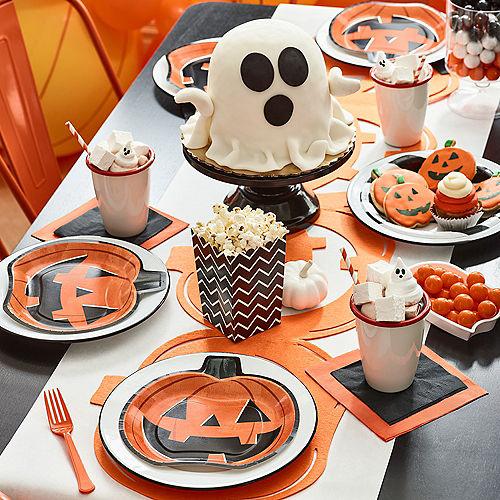 Classic Orange & Black Pumpkin-Shaped Jack-o'-Lantern Paper Lunch Plates, 9in, 8ct Image #2