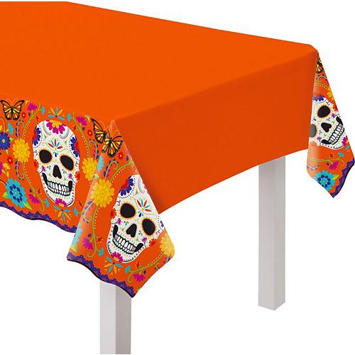 Dia de los Muertos Sugar Skull Plastic Table Cover, 54in x 102in Image #1