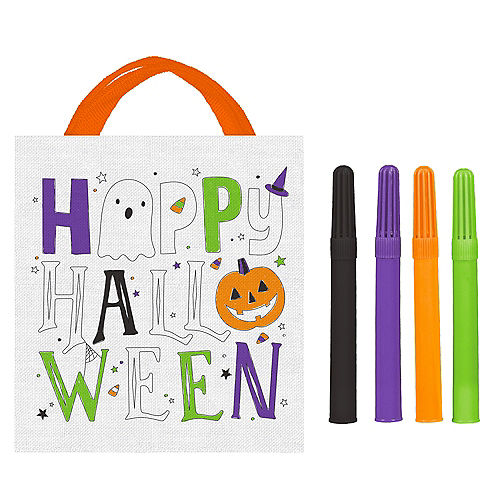 Decorate Your Own Halloween Canvas Trick-or-Treat Bag Kit, 13.5in x 14.75in, 5pc Image #1