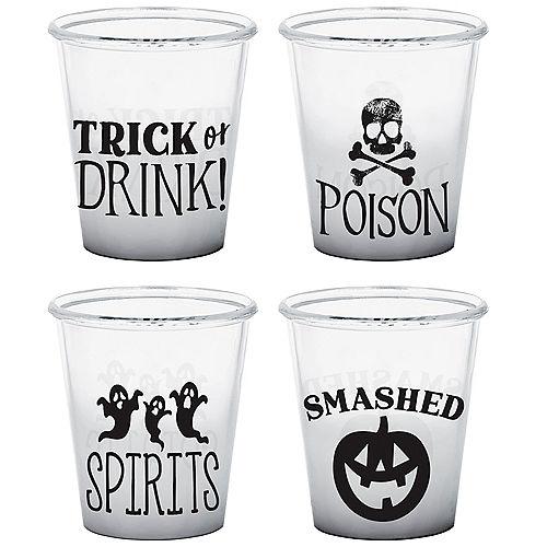 Classic Black & White Halloween Plastic Shot Glasses, 1.5oz, 4ct Image #1