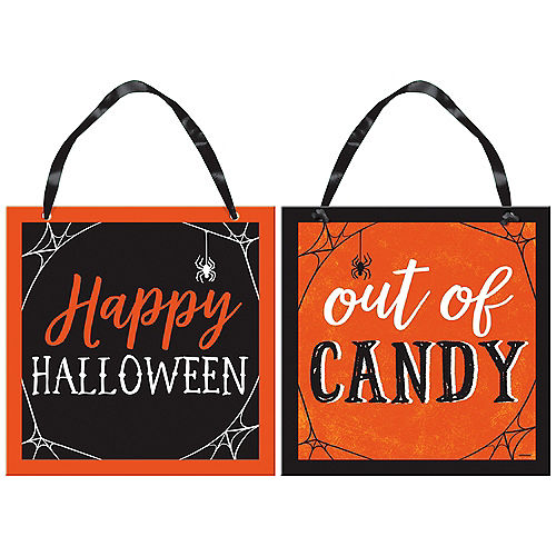 Classic Orange & Black Halloween Out of Candy Reversible Fiberboard Sign, 12in x 12in Image #1