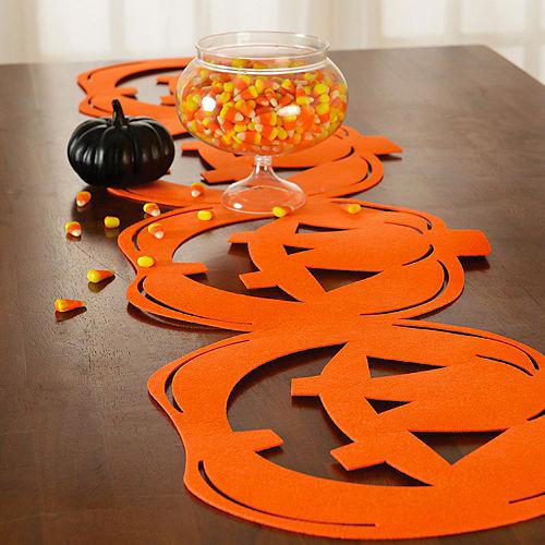 Classic Orange Jack-o'-Lantern Die-Cut Felt Table Runner, 13.4in x 53.5in Image #1