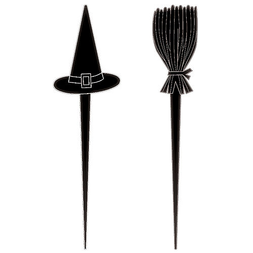 Classic Black & White Halloween Witch Plastic Cocktail Picks, 2.75in, 10ct Image #1