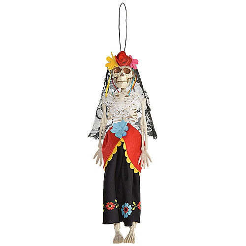 Day of the Dead Skeleton Bride Fabric & Plastic Hanging Decoration, 12in Image #1