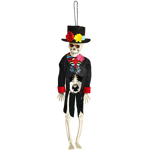 Day of the Dead Skeleton Groom Fabric & Plastic Hanging Decoration, 12in Image #1