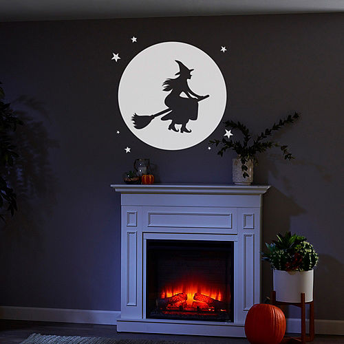 Animated Witch Over Moon Motion Projector, 4in x 7in Image #3