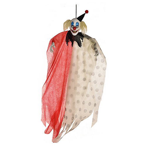 Scary Red & White Polka Dot Clown Fabric & Plastic Hanging Decoration, 48in Image #1