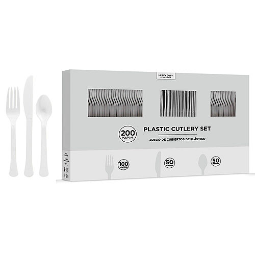 CLEAR Heavy-Duty Plastic Cutlery Set for 50 Guests, 200ct Image #1
