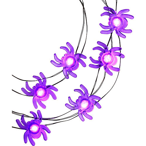 Purple Spider Halloween LED Plastic String Lights, 20 Bulbs, 6.3ft Image #2