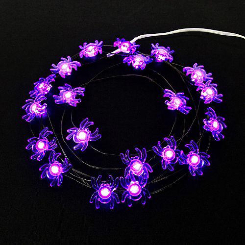 Purple Spider Halloween LED Plastic String Lights, 20 Bulbs, 6.3ft Image #3