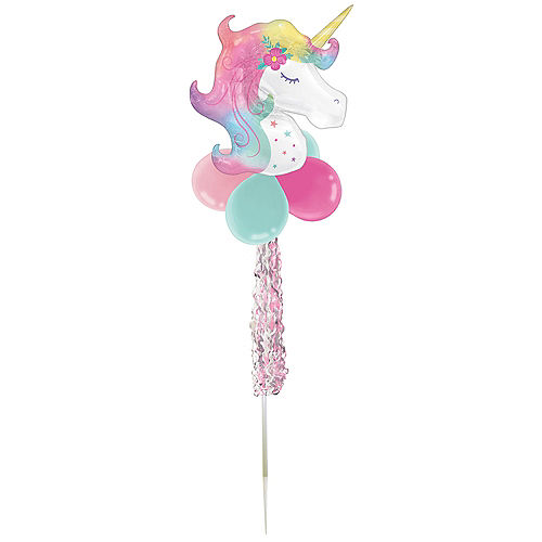 Air-Filled Enchanted Unicorn Foil & Latex Balloon Yard Sign, 64in Image #2