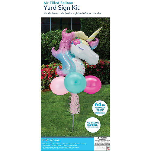Air-Filled Enchanted Unicorn Foil & Latex Balloon Yard Sign, 64in Image #4