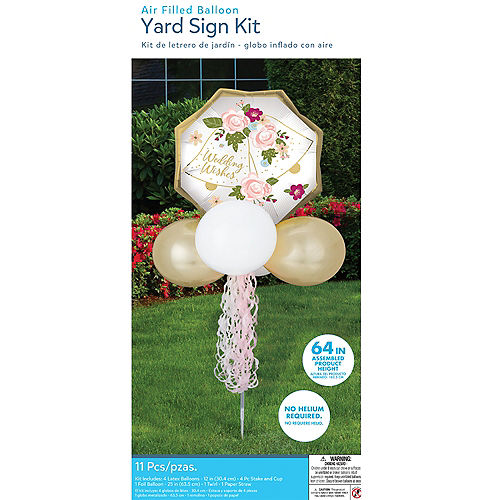 Air-Filled Wedding Bells Foil & Latex Balloon Yard Sign, 64in Image #3
