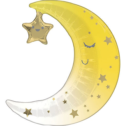 Air-Filled Sleepy Moon & Star Foil Balloon, 16in x 17in Image #1