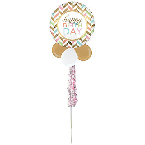 Air-Filled Pastel Birthday Celebration Foil & Latex Balloon Yard Sign, 62in Image #2