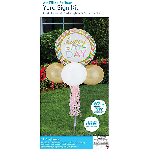 Air-Filled Pastel Birthday Celebration Foil & Latex Balloon Yard Sign, 62in Image #4