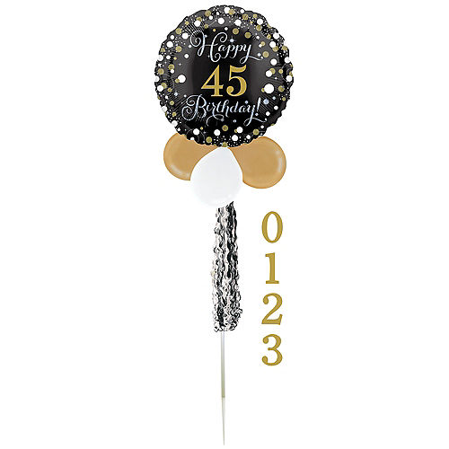 Air-Filled Sparkling Birthday Customizable Foil & Latex Balloon Yard Sign, 62in Image #2