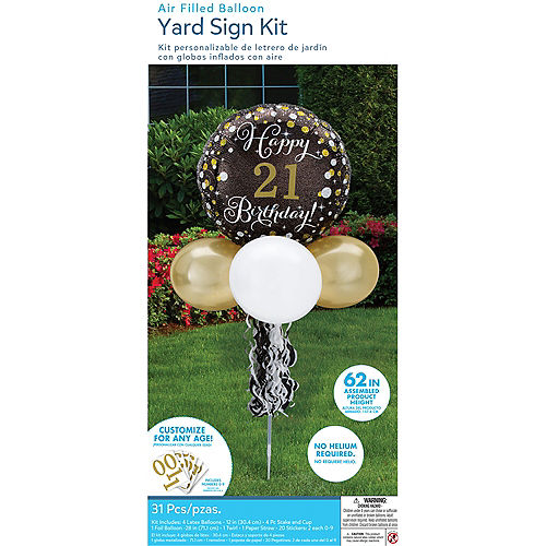Air-Filled Sparkling Birthday Customizable Foil & Latex Balloon Yard Sign, 62in Image #4