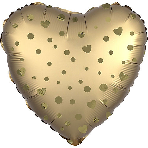 Air-Filled Gold Dot & Heart Satin Foil Balloon, 13in x 14in Image #1