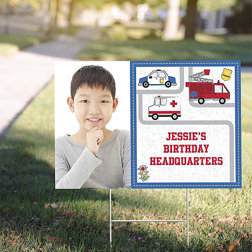 Custom First Responders Photo Yard Sign Image #1