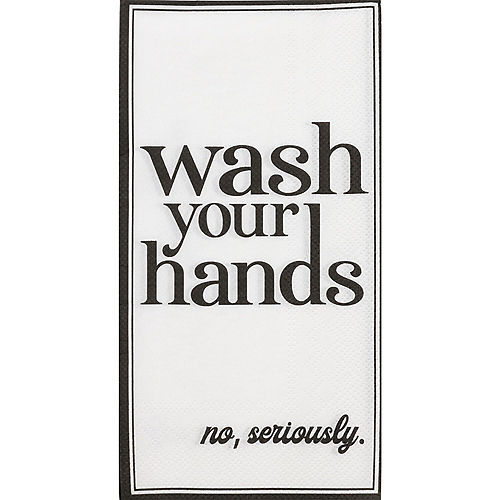 Black Seriously, Wash Your Hands Paper Guest Towels, 16ct Image #1