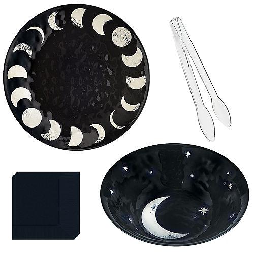 Lunar Black & White Happy Halloween Serveware Kit Image #1