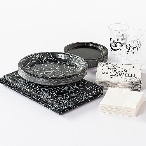 Black & White Spiderweb Halloween Tableware Kit for 10 Guests Image #1