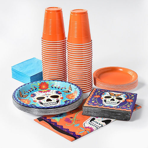 Sugar Skull Day of the Dead Tableware Kit for 12 Guests Image #1