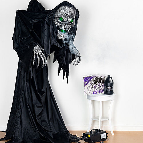 Animated Light-Up Talking Hunched Grim Reaper Fog & Spiderweb Halloween Outdoor Decorating Kit Image #1