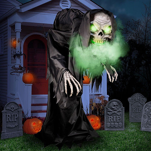 Animated Light-Up Talking Hunched Grim Reaper Fog & Spiderweb Halloween Outdoor Decorating Kit Image #4