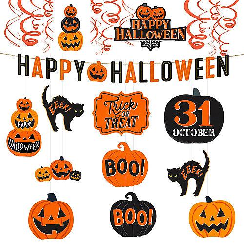 Classic Black & Orange Halloween Room Decorating Kit Image #1