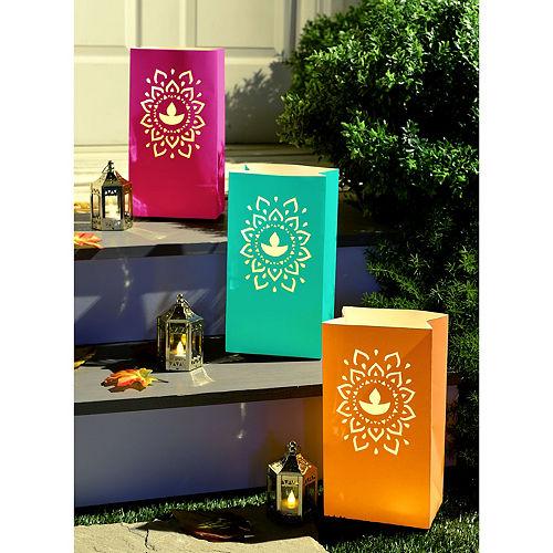 Multicolor Diwali Rangoli Paper Luminary Bags, 6in x 11in, 6ct Image #1
