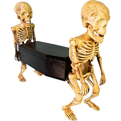 Animated Skeletons Carrying Coffin Plastic Decoration with Music, 22.5in x 17.3in Image #1