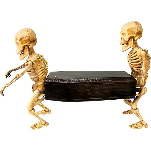 Animated Skeletons Carrying Coffin Plastic Decoration with Music, 22.5in x 17.3in Image #2