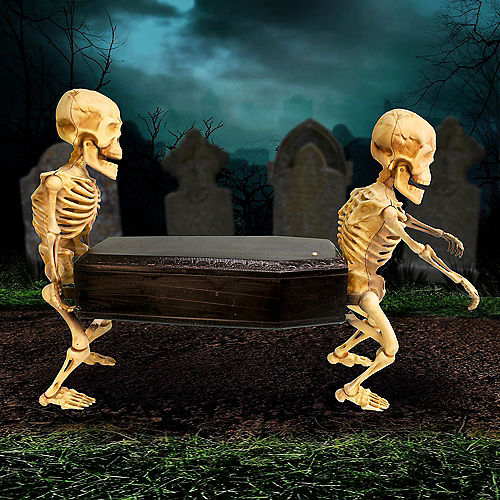 Animated Skeletons Carrying Coffin Plastic Decoration with Music, 22.5in x 17.3in Image #4