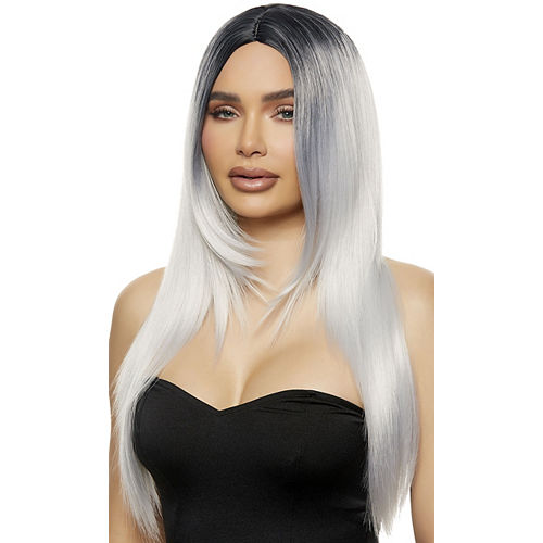 Straight Ombre Gray Synthetic Wig with Black Roots & Middle Part, 28in Image #1